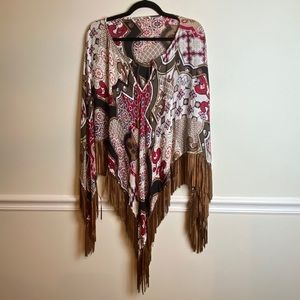 Chico's Red and Brown Patterned Fringe Poncho